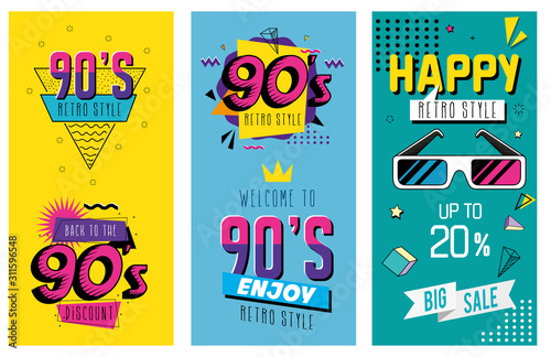 Fotografia, Obraz  set poster of nineties retro style pop art vector illustration design