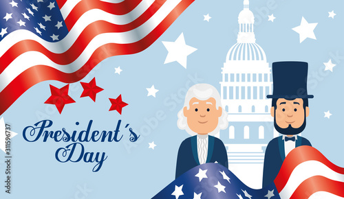 Obraz na plátně happy presidents day with people and decoration vector illustration design