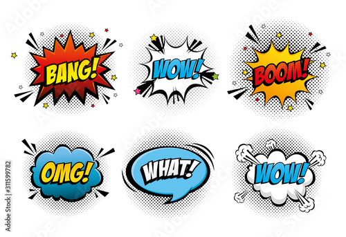 set of expressions and explosions pop art style icon vector illustration design