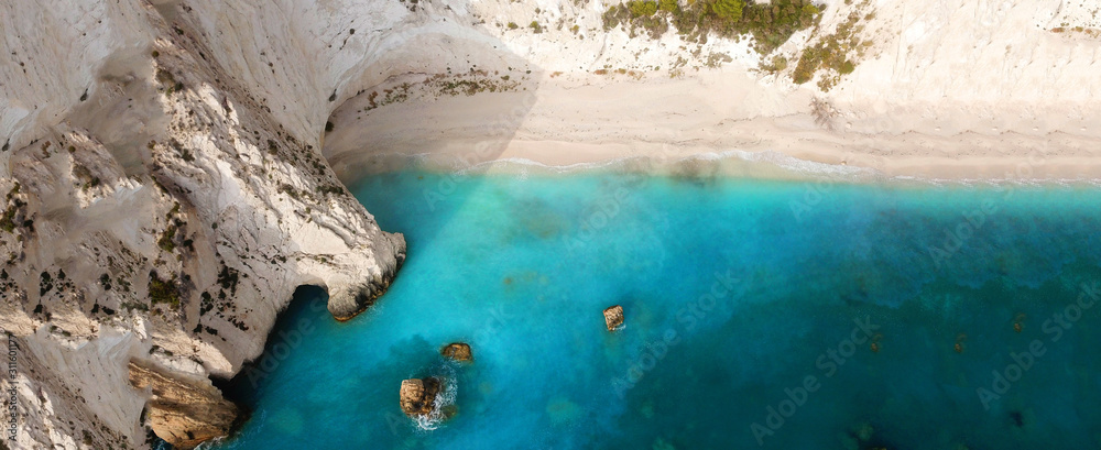 Fototapeta Aerial drone ultra wide photo of paradise white bay with turquoise clear sea in island of Kefalonia, Ionian, Greece