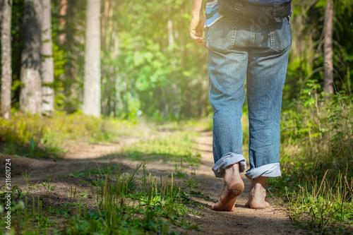 Man walking in forest Canvas-taulu