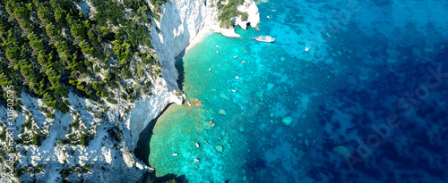 Fototapeta Aerial drone ultra wide photo of paradise white bay with turquoise clear sea in island of Kefalonia, Ionian, Greece obraz