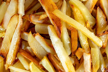 Close Up Of Homemade French Fries Chips Potato.