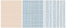 Hand Drawn Childish Style Seamless Vector Patterns. White And Black Vertical Stripes On A Blue Background. Black Grid On A Blue. White Tiny Lines On A Light Beige Layout. Simple Geometric Prints.