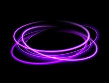 Purple Circle Light Effect Background. Swirl Glow Magic Line Trail. Light Effect Motion