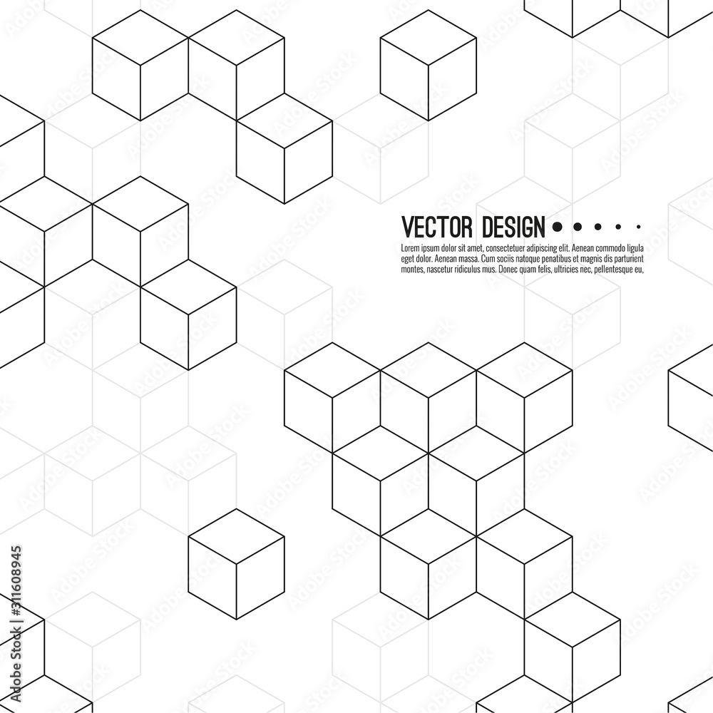 Fototapeta Abstract background with intersecting geometric cubic and hexagon shapes. Vector pattern of cubes. Techno illustration.