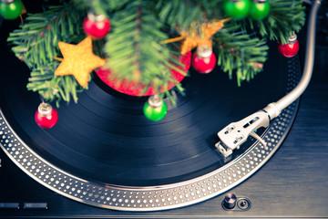 Christmas tree and festive turntable