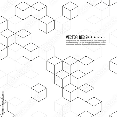 Abstract background with intersecting geometric cubic and hexagon shapes. Vector pattern of cubes. Techno illustration.