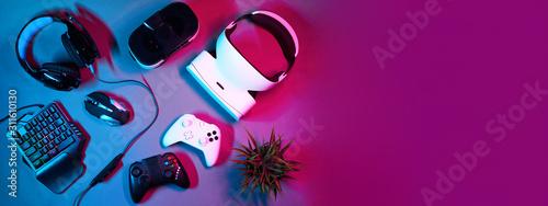 Keyboard, mouse, gamepad, virtual reality headset and headphones.