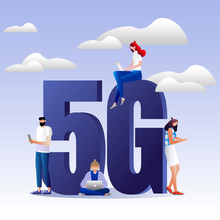 5G Network Wireless Technology Vector Illustration. Isometric Big Letters 5g And Tiny People. High-speed Mobile Internet. Using Modern Digital Devices