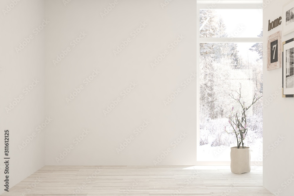 Fototapeta Mock up of empty room in white color with winter landscape in window. Scandinavian interior design. 3D illustration