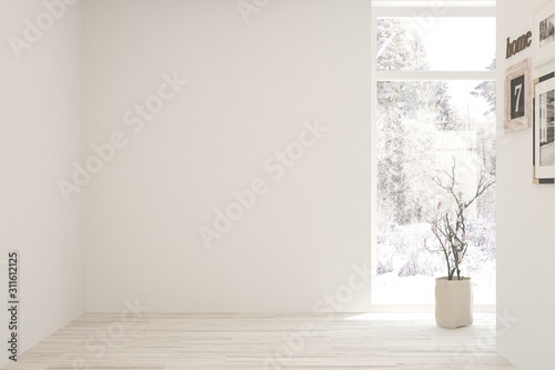 Mock up of empty room in white color with winter landscape in window. Scandinavian interior design. 3D illustration