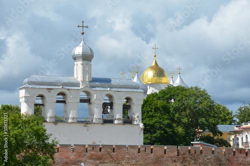 Photo belfry of St. Sophia Cathedral in Veliky Novgorod