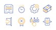 Cogwheel, Winner ticket and Usd currency line icons set. Correct checkbox, Exit and Reject medal signs. Time, Augmented reality symbols. Engineering tool, Carousels award. Business set. Vector
