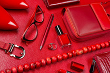Woman Red Accessories, Jewelry, Cosmetic, Shoes And Other Luxury Objects On Leather Background, Fashion Industry, Modern Female Concept, Selective Focus