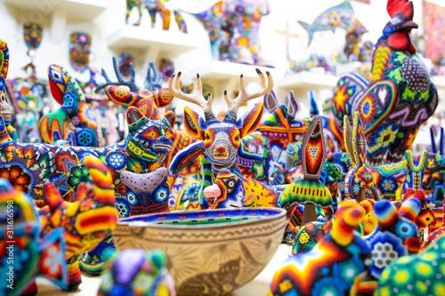 Traditional huichol bead ornament figures mexican culture Canvas Print