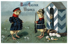 Vintage Easter Postcard Greeting Card Two Chickens Dressed As Military Guards, Broken Eggs.