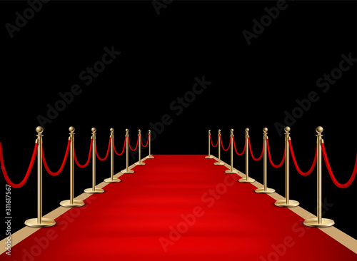 Fotomural  Red carpet and golden barriers realistic 3d illustration