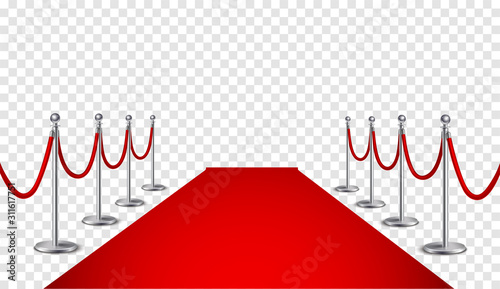 Red carpet and golden barriers realistic 3d illustration Wallpaper Mural