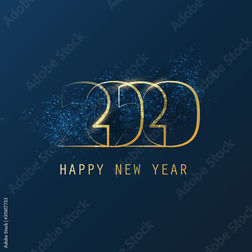 Fototapeta Best Wishes - Abstract Modern Style Happy New Year Greeting Card or Background, Creative Design Template - 2020 obraz