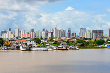 Belem / Brazil - May 14,2013. View Of Fishing Harbor In Belem, Many Colorful Fishing Boats And Rich Building In Background