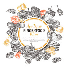 Finger Food Round Banner, Label Or Poster With Design For Restaurant, Cafe. Snacks, Appetizers, Mini Canapes, Sandwiches, Seafood, Hamburger, Rolls On Backgraund. Vector Monochrome Illustration