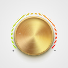 Volume Button Metal Texture Golden. Music Knob Sound Level. Sound Panel Tuner Interface