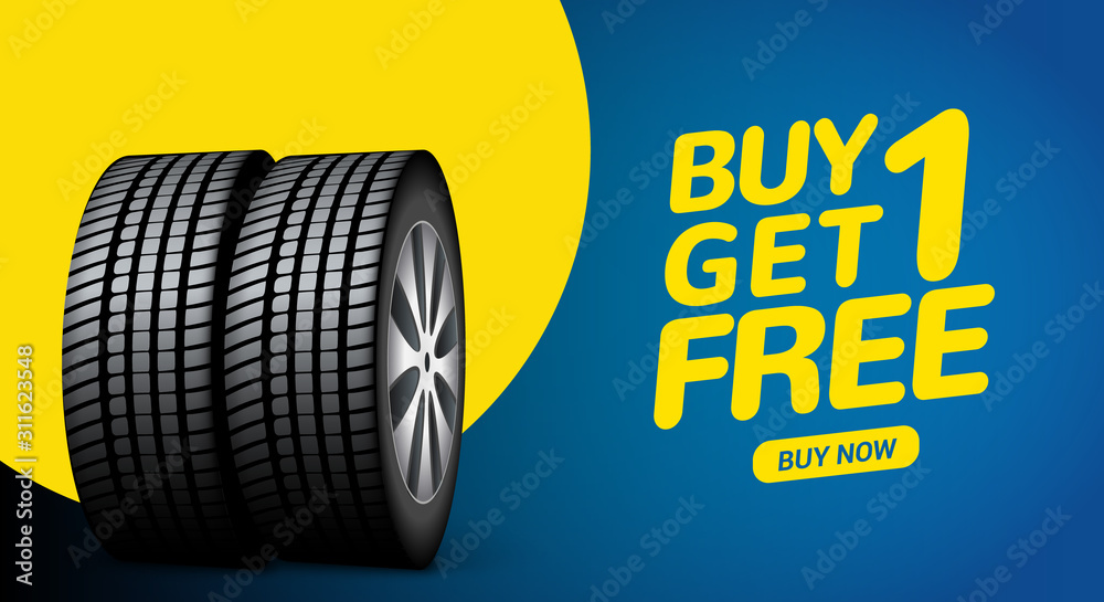 Fototapeta Car tire sale banner, buy 1 get 1 free. Car tyre service flyer promo background. Tire sale advertising