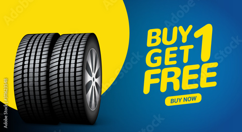 Obraz Car tire sale banner, buy 1 get 1 free. Car tyre service flyer promo background. Tire sale advertising - fototapety do salonu