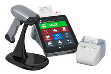 Online Cash Register, Receipt Printer, Barcode Reader With POS-terminal, 3D Rendering