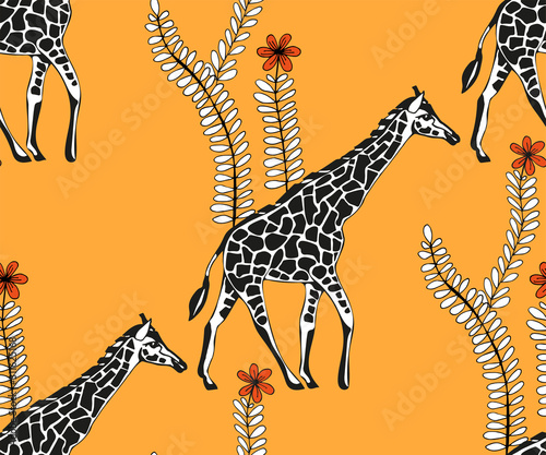 Vector background hand drawn exotic wild animals Wallpaper Mural