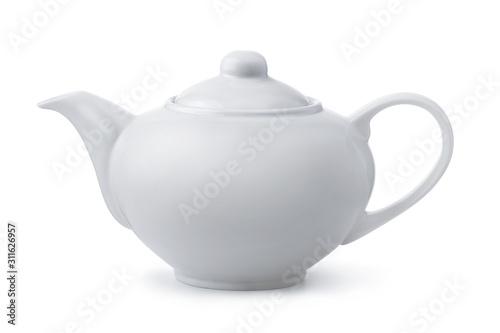 Cuadros en Lienzo Side view of white ceramic teapot