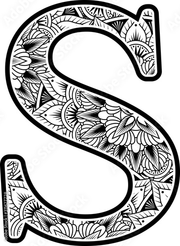 Leinwand Poster  capital letter s with abstract flowers ornaments in black and white