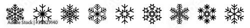 Obraz płatki śniegu zestaw ikon - fototapety do salonu