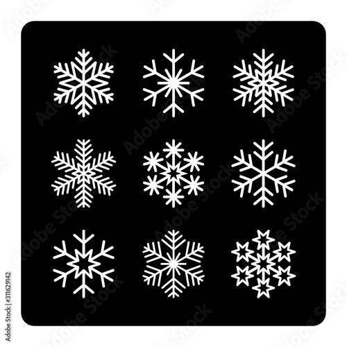 płatki śniegu zestaw ikon - fototapety na wymiar