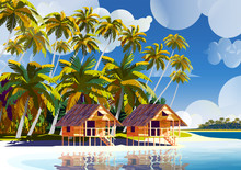 Polynesia Tahiti Tropical Beach Landscape With Traditional Houses, Palm Trees And Island In The Background.