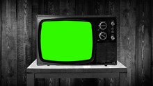 Old Tv Set With Green Screen, ...