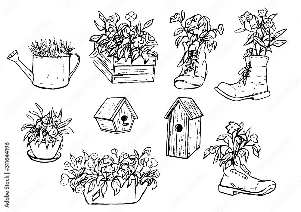 Fototapeta Hand drawn vector illustration. Collection of unusual flower pots and wooden birdhouses. Vintage garden set. Decorative floral outline elements isolated in white, for design, typography, prints etc.