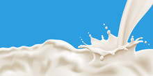 Splashing And Flowing Milk Wav...