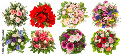 Obraz na plátně Flowers bouquet Roses tulips hyacinth amaryllis protea isolated