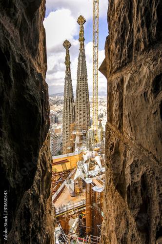 Barcelona, Kathedrale Sagrada Familia, Architekt Antonio Gaudi, Canvas Print