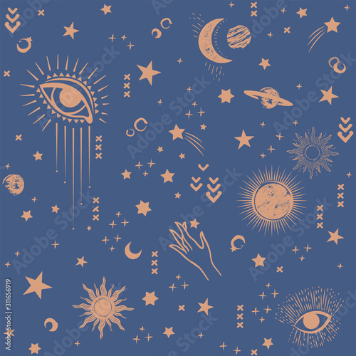 Space Galaxy constellation seamless pattern print could be used for textile, zod Canvas Print