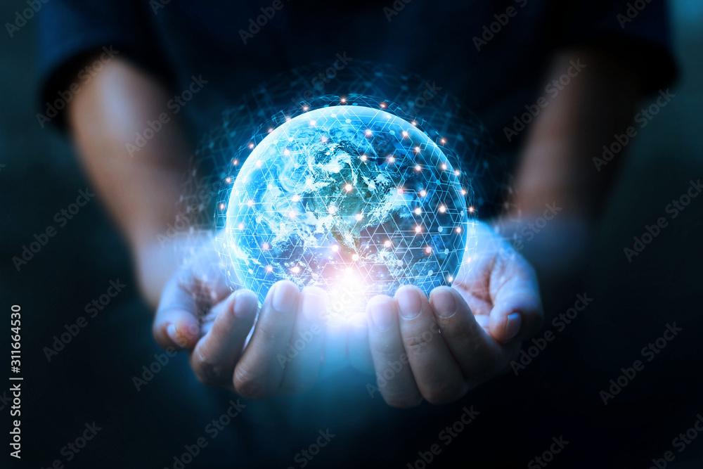 Fototapeta Man hands holding blue earth and global networking connection and data exchanges, global communication network concept, Elements of this image furnished by NASA.
