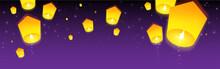 Sky Lanterns Floating In Night...