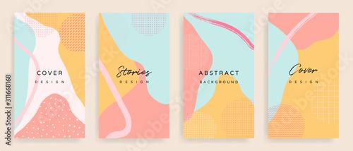 Historie w mediach społecznościowych i twórcze wektor zestaw. Szablon tła z miejsca kopiowania tekstu i obrazów według abstrakcyjnych kolorowych kształtów, linii i naturalnego kształtu.
