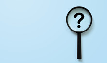 Magnifying Glass With Question Mark Symbol. Concept Creative Idea And Innovation