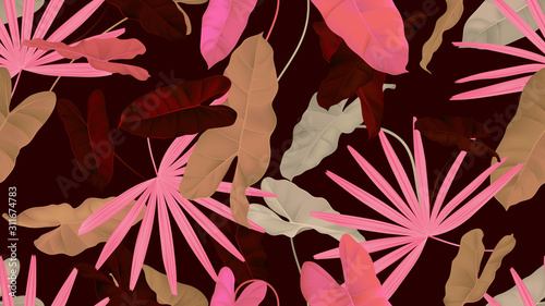 Foliage seamless pattern, brown and pink Rhapis excelsa and Philodendron burle marx plant on dark red