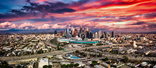 Los Angeles Panorama freeways at sunset