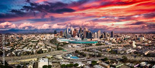 Los Angeles Panorama freeways at sunset