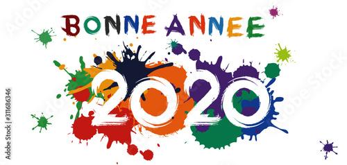 Carte de vœux 2020 bonne année colorées Canvas Print
